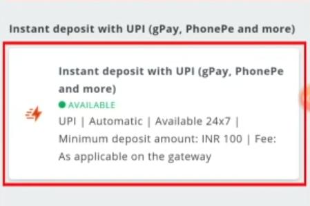 Deposit options wazirx