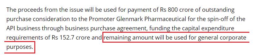 Glenmark general corporate purposes