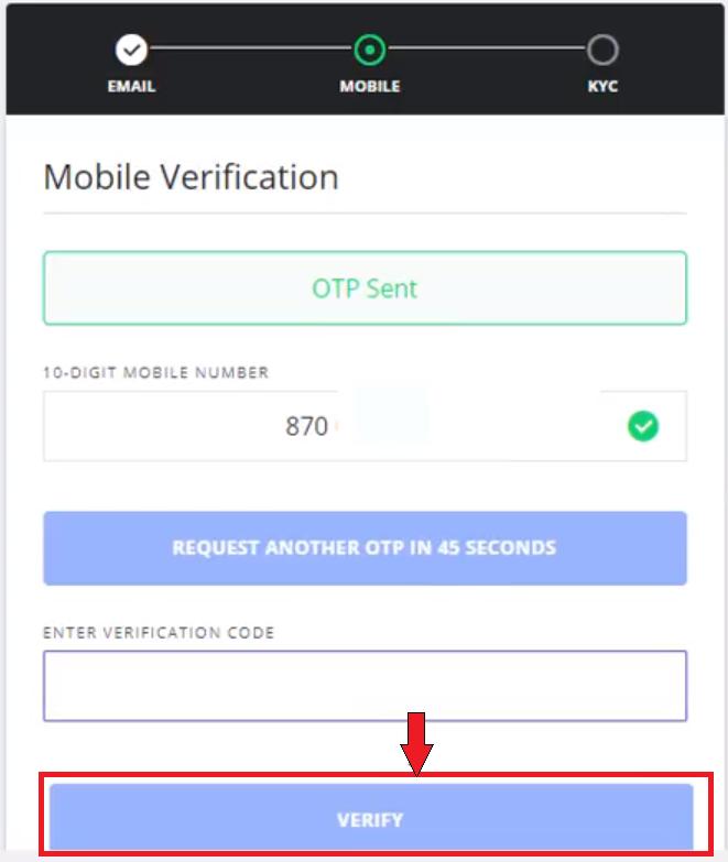 Mobile verification wazirx