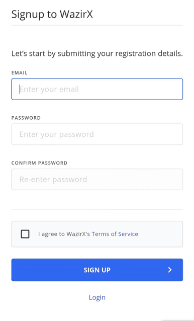 Signup to WazirX