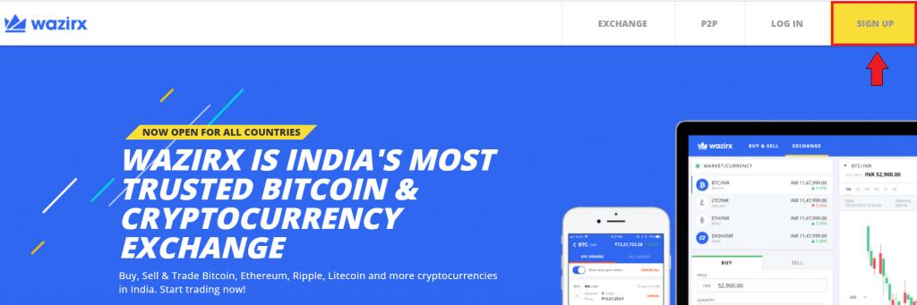 WazirX homepage